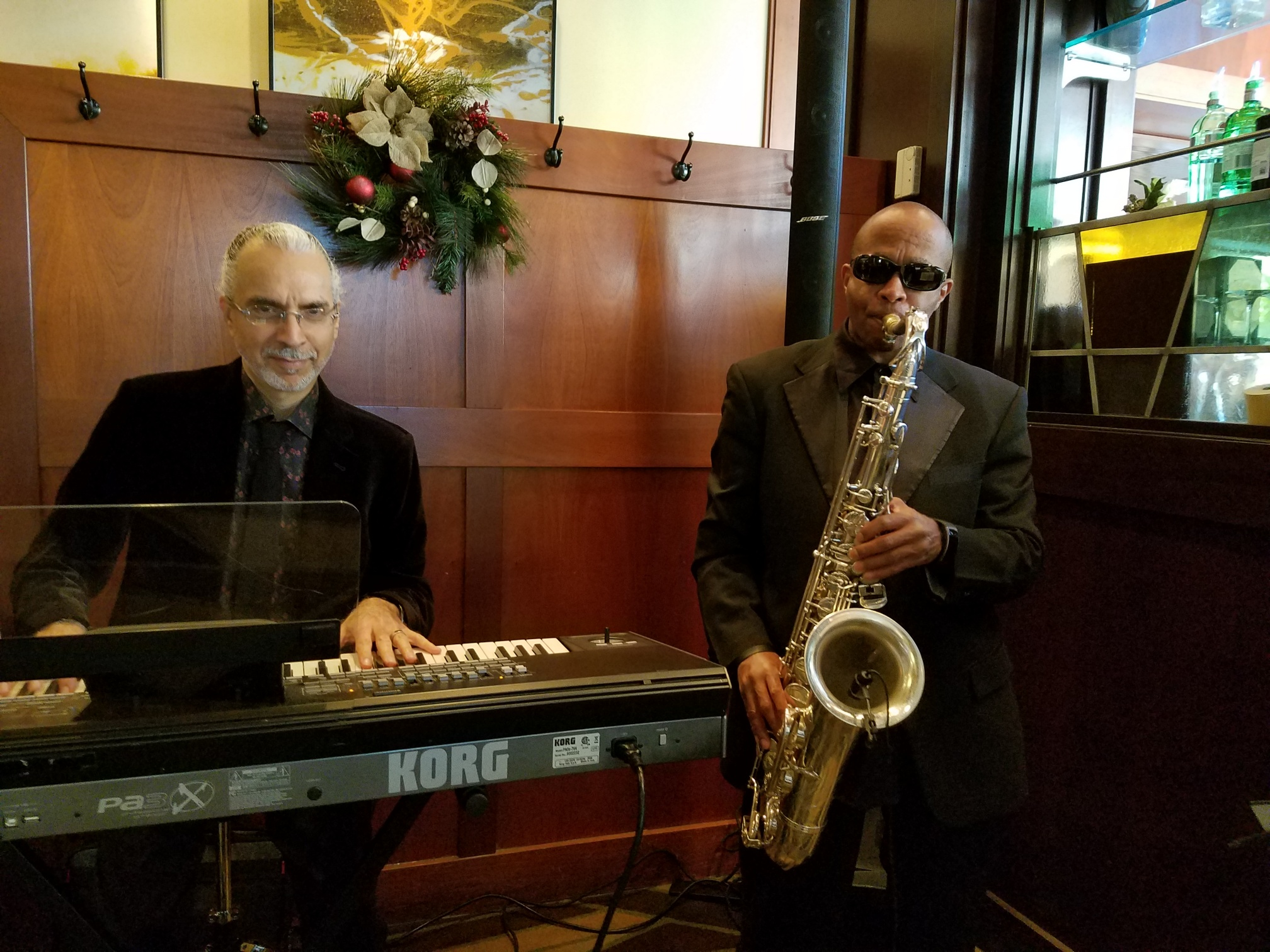 Efi Tovia (Keyboard), and Johnny Long (Tenor Sax) playing show in Crystal City, VA