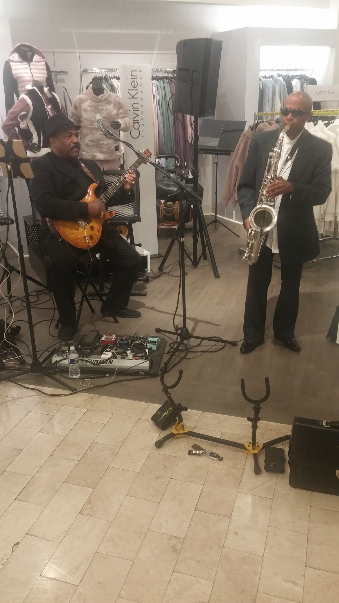 Johnny Long playing Tenor Sax for Lord & Taylor Fashion Show in Bethesda, MD with guitarist Mike Nelson