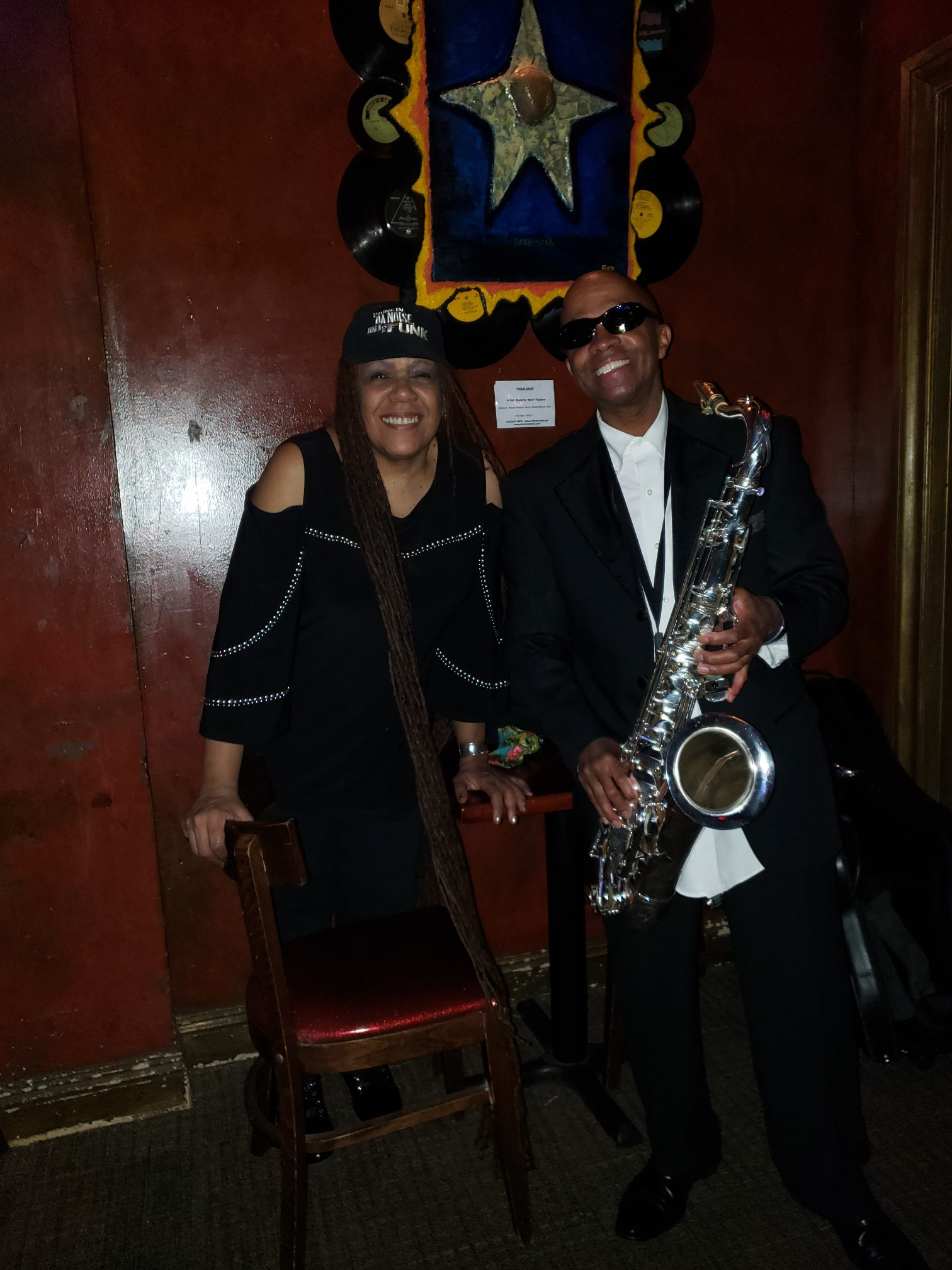 Johnny Long playing Tenor Sax at the Pro Jam with Felicia M. Collins guitarist for the David Letterman, Late Show Band in New York, NY