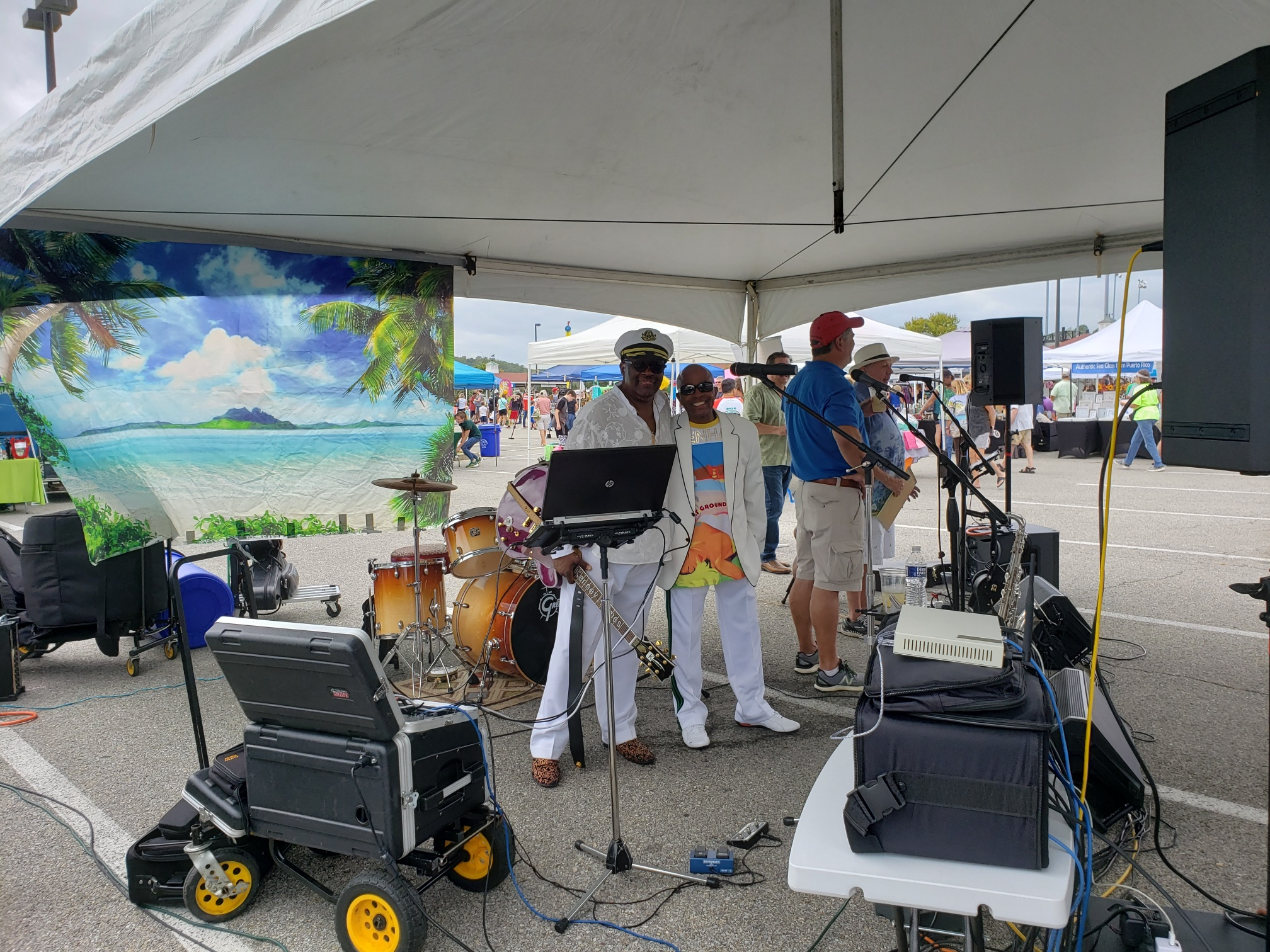 Johnny Long playing Tenor Sax with Kenny Holmes (Guitar) and Denise Johnson (Drums) at show in Chesapeake Beach, MD