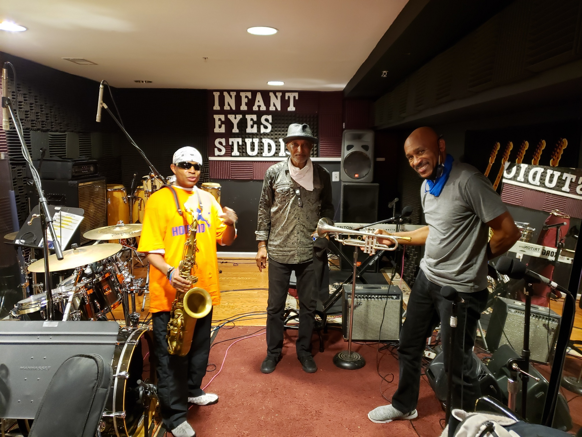 Johnny Long, Ignatius Mason and Buzzy Pindell hanging out in the Infant Eyes Studio