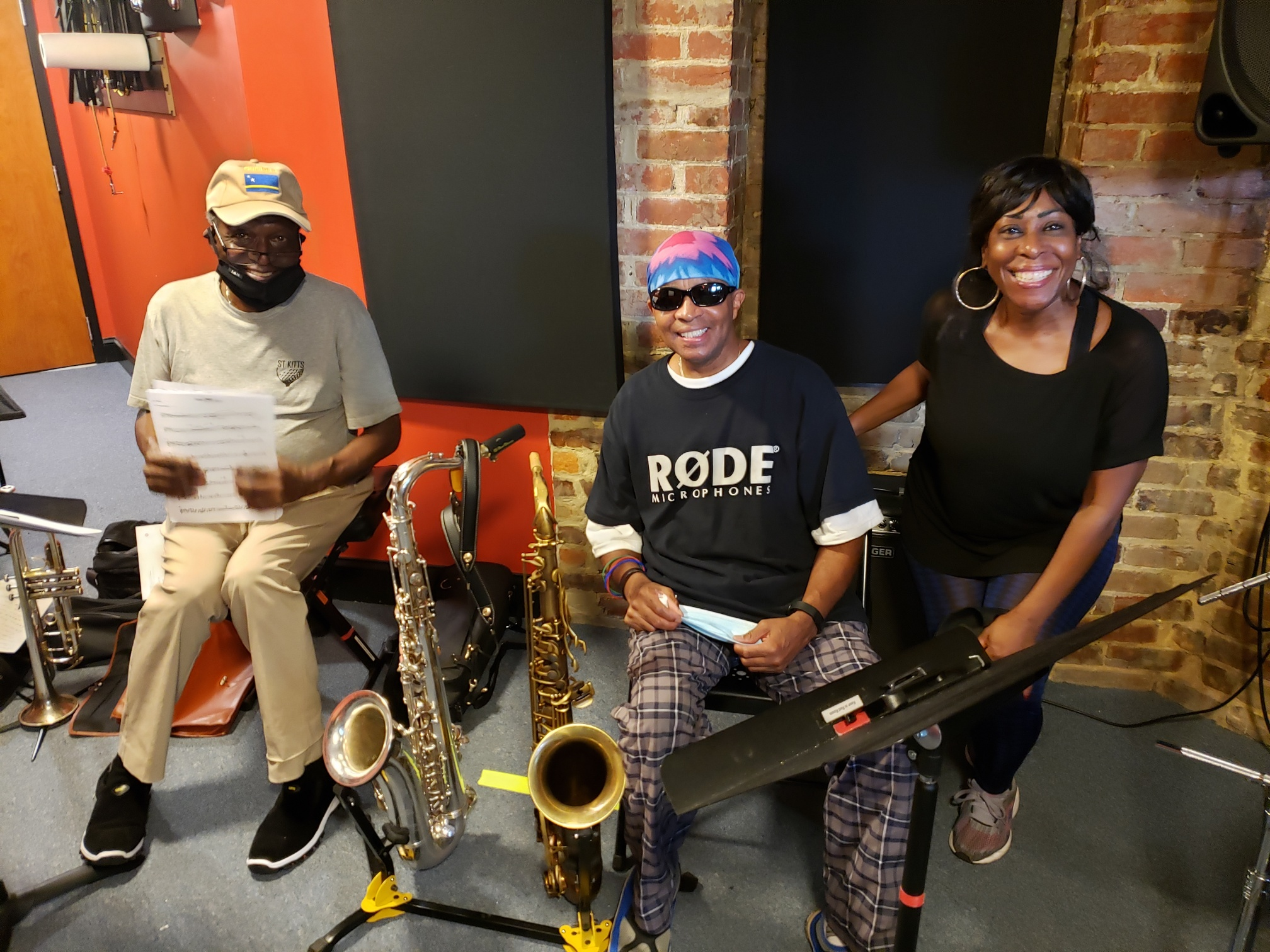 Studio Rehearsal.  Johnny Long (Tenor Sax), Nat Nolan (Trumpet), Jeanette Harris (Vocals)